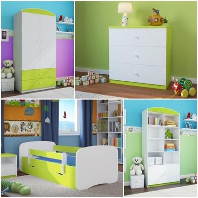 4el nábytok, skrine, poličky na knihy hrudníka posteľ 140x70 zelená