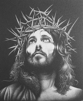 Иисус Христос Картина вручную гравированный на противень