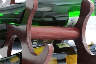 STYLOWY stojak z drewna na butelki wino piwo wodę