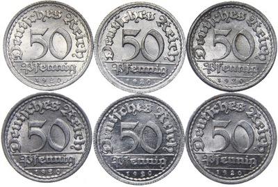 Niemcy - 50 Pfennig 1920 - KOMPLET MENNIC - ADEFGJ