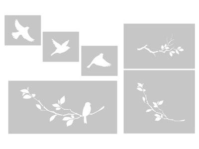 Vtáky na pobočke - nastavenie šablón, maľovanie