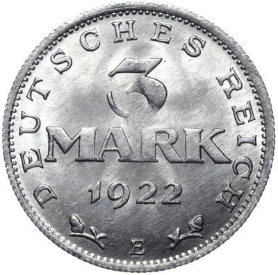 Германия - монета 3  1922 E - MENNICZA С ролики