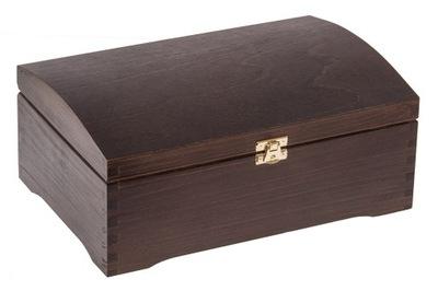 Organizér, kufrík, skrinka - KUFER SOSNOWY 30x20 CIEMNY BRĄZ szkatułka PREZENT