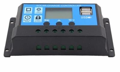 poplatok Regulátora 10A 12V 24V PWM solárne LCD USB