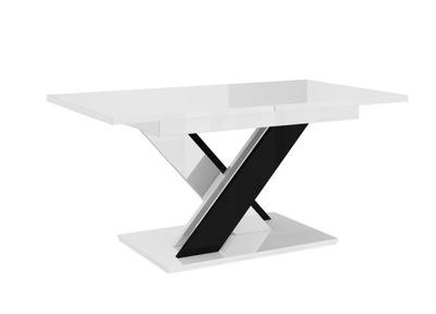Stół ROZKŁADANY Biało-Czarny POŁYSK 140-180+GRATIS