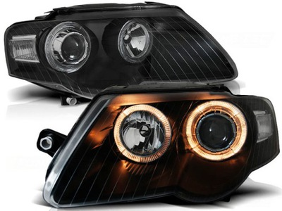 Lampy przód VW PASSAT B6 3C BLACK Angel Ringi DEPO