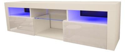 Шкаф столик RTV АДИС 12 160см Белый блеск + LED
