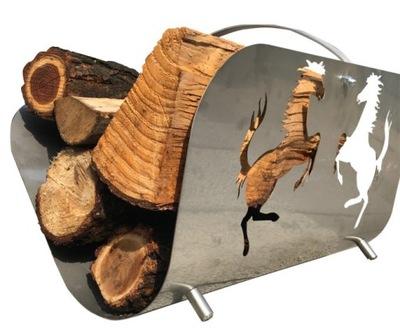 Kôš dreva pre krb, stojan z nehrdzavejúcej ocele