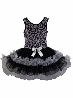 sukienka taniec sesja   SK934 BLACK WHITE   8-9lat