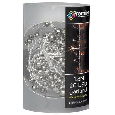 Strieborné girlandy LED žiarovky pre trstina 180 cm