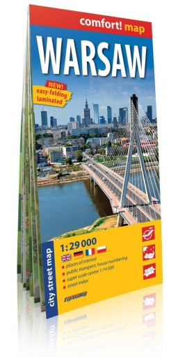 Warsaw City street map 1:29 000