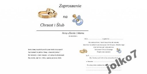 Zaproszenia Zaproszenie Na Chrzest I ślub 2 W 1 5908186313 Allegropl