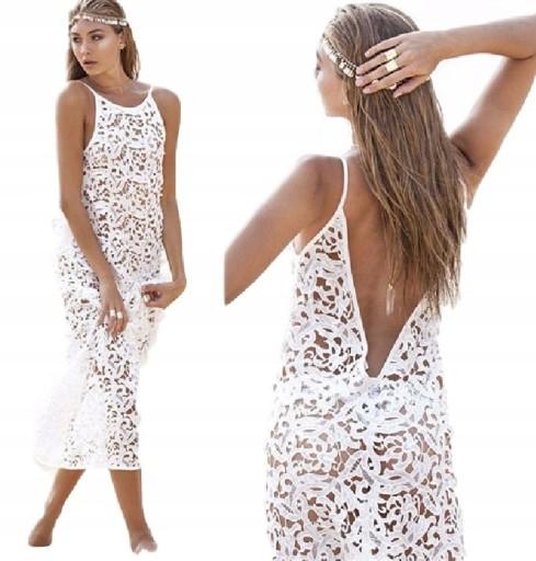 e0112c7f3 Sukienka ażurowa koronkowa na plażę biała M 38 7547726661 - Allegro.pl