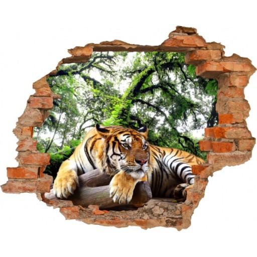 Fototapeta 3d Tygrys Dziki Kot Dziura W ścianie 5870533325 Allegropl