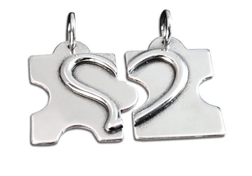 Dwie połówki serce puzzle srebrne wisiorki, grawer