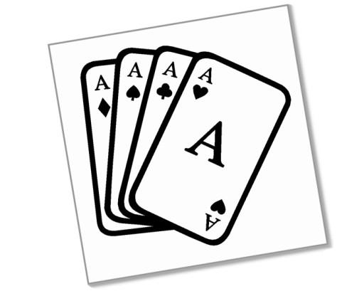 ASY - Naklejka 10cm - 4 asy poker karty hazard
