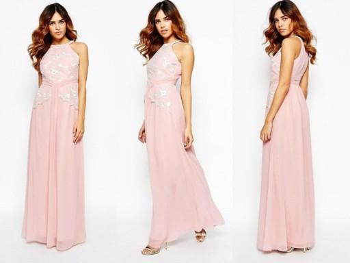 Little Mistress pudrowa różowa sukienka maxi 40