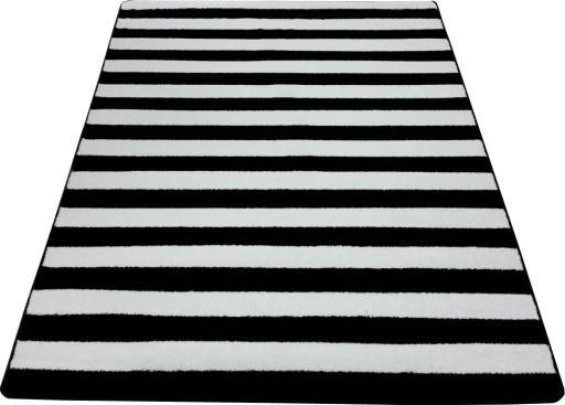 Wspaniały Dywan czarno biały 180x270 w PASY PASKI ZEBRA mono 5918123254 KV25