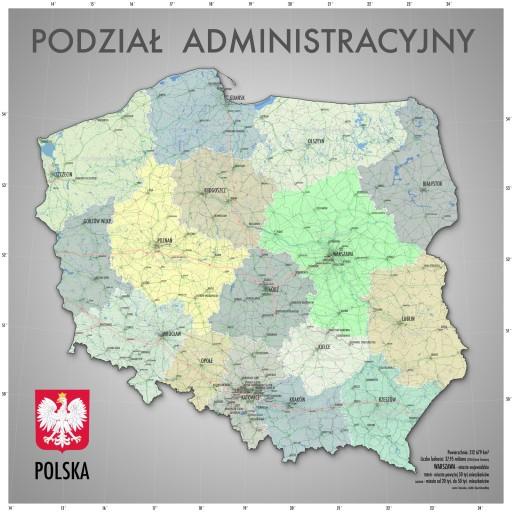 Mapa Polski Podział Administracyjny Plakat 60x60 7507607452