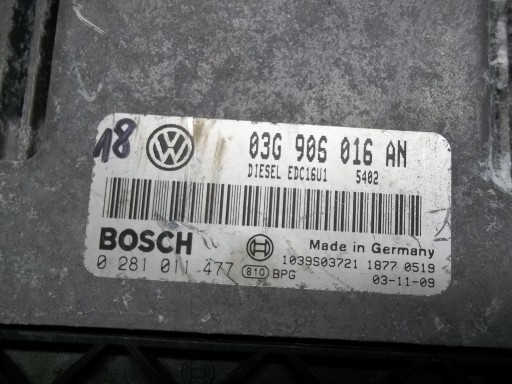 VW SEAT 1.9 TDI KOMPUTER 03G906056AM 0281011477