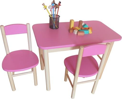 Stolik Dwa Krzesełka Dla Dzieci Drewno Kolory