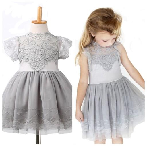 90313f6a Śliczna Koronkowa Sukienka Wesele Urodziny 104-110