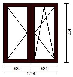 OKNO PCV 1249 x 1364 R+UR CIEMNY BRĄZ - WYPRZEDAŻ