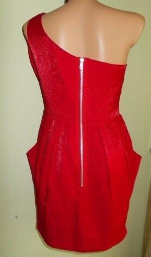 Sukienka asymetryczna zip czerwona wesele AX 40