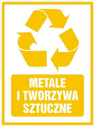 Naklejka na kosz segregacja śmieci METAL 10x13,5cm