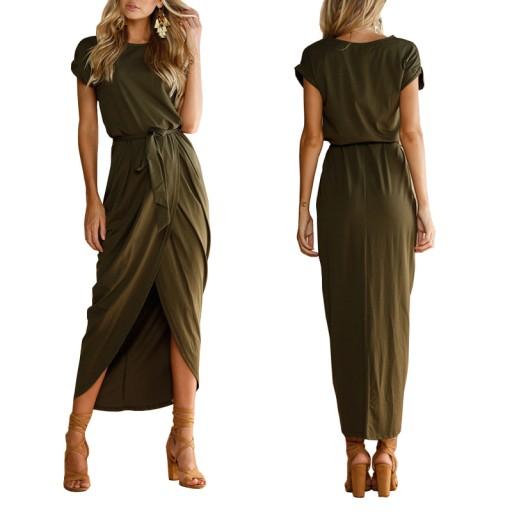 Dluga Sukienka Maxi Asymetryczna Dresowa Sciagacz 7392290206 Allegro Pl