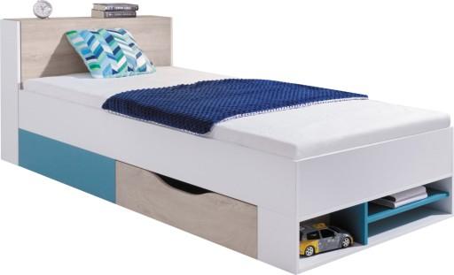 łóżko 90x200 Białe Dąb Morskie Młodzieżowe Pl14