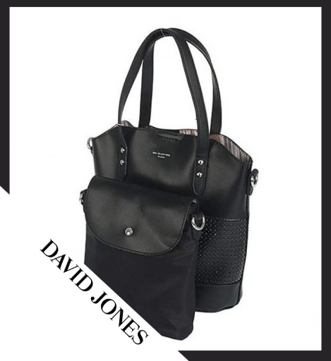 d703944da6b50 Czarna torebka DAVID JONES zestaw + kosmetyczka 7570203174 - Allegro.pl