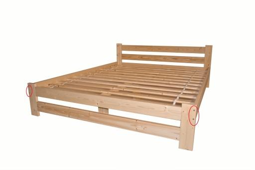 łóżko Sosnowe Drewniane 160x200 Wysoki Z Materacem