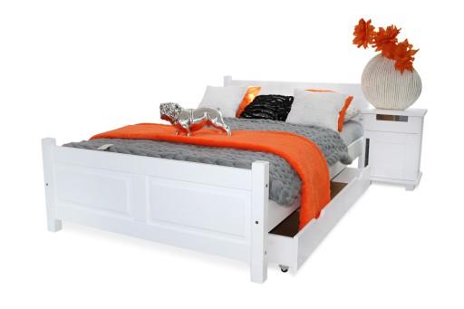 łóżko Białe Lena 160x200materac Spręzynowystelaż