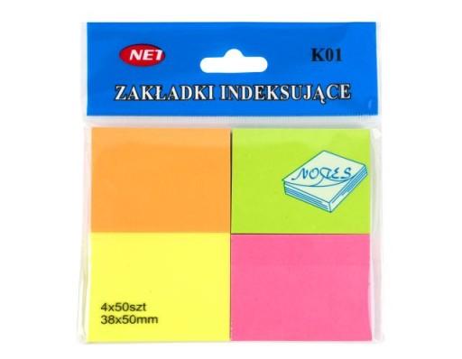 KARTECZKI SAMOPRZYLEPNE 4 kolory 38x50mm