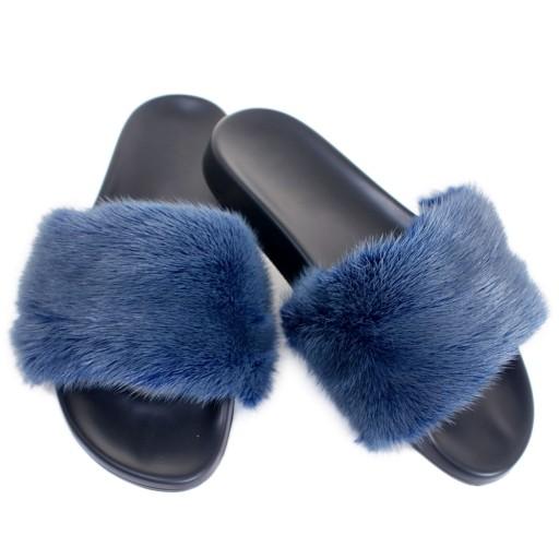 649afc68d8563 Klapki z niebieskim futerkiem futrem norki kapcie 7490652654 - Allegro.pl -  Więcej niż aukcje.