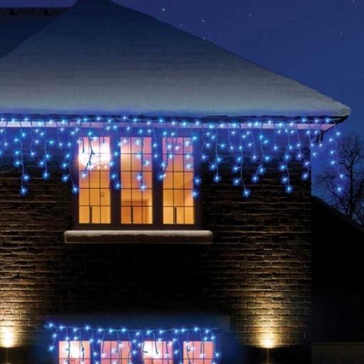 Mocne Sople Zewnętrzne 200led Lampki Niebieski 9m