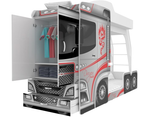 łóżko Piętrowe 80x190 Szafa Komoda Mega Truck 7213049440 Allegropl