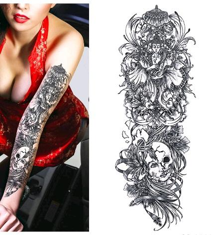 Naklejany Tatuaż Kalkomania Tattoo Czaszki Budda