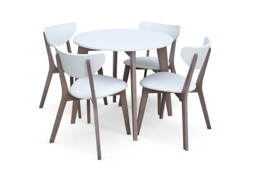 Stół Okrągły I 4 Krzesła Z 51 Biały Dąb Sonoma