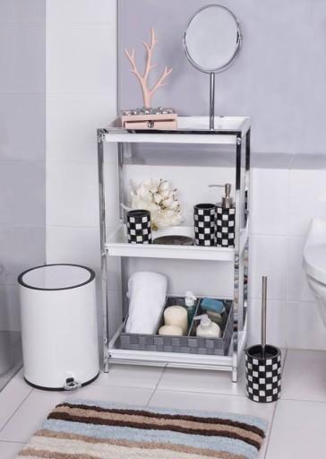 Super Wąski Regał Do łazienki Stal Białe Półki