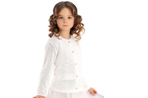 6495c7e6ad 719 Sweter biały ażur Komunia okrycie 146 7195722929 - Allegro.pl