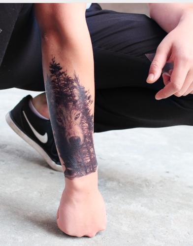 Tatuaż Tymczasowy Ręka Noga Las Wilk Przed Ramię 7580811690 Allegropl