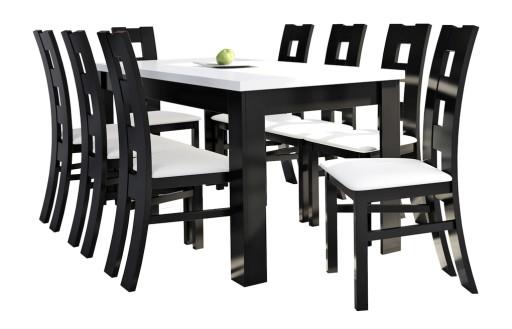 Stół Do Salonu Z 8 Krzesłami Czarno Biały