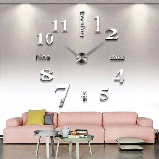 Duży Zegar ścienny przyklejany 3d srebrny