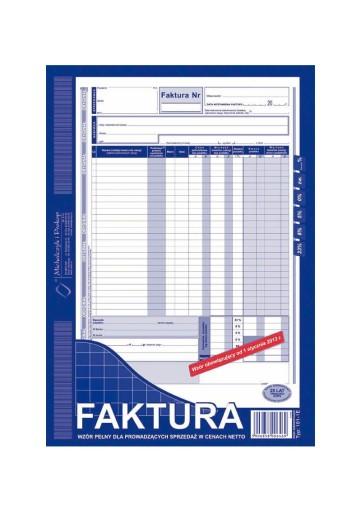 DRUK FAKTURA VAT A4 WZÓR PEŁNY OD NETTO 101-1E
