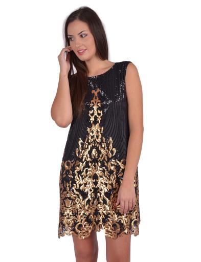 a44294bbf4 Czarna Klasyczna Sukienka Złote Cekiny Na Miarę 7088147527 Allegropl