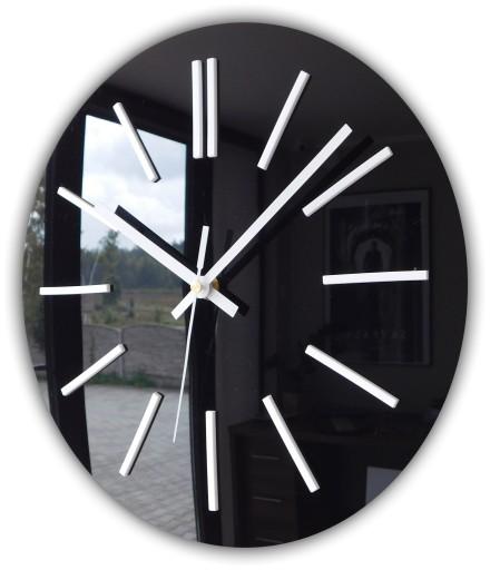 Cichy zegar ścienny Glamour połysk CZARNY 40 cm A4