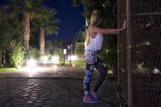 Legginsy damskie CANDY SKULL - joga,fitness - S