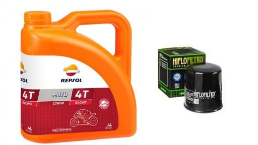 Olej REPSOL RACING SYNTETIC 10W50 4T + filtr oleju